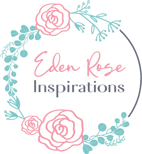 Logo for Eden Rose Inspirations with pink roses, greenery, and a grey arch