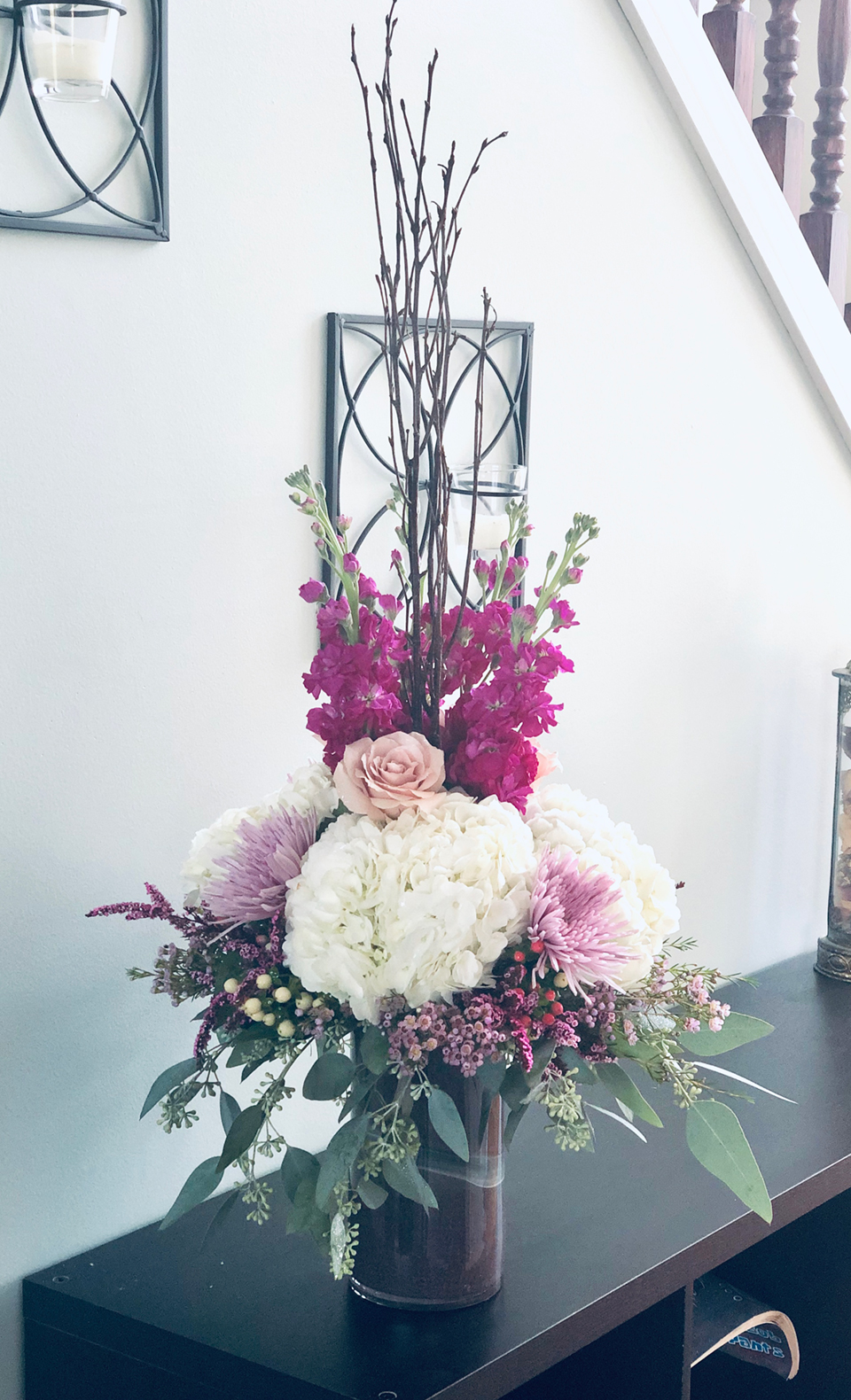 Purple and white flower arrangement created by Eden Rose Inspirations, a Bowling Green, OH Florist